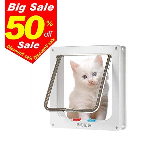 Cat Flap Door Magnetic Pet Door Waterproof with 4 Way Locking Large Cat Small Dog Door Interior Weather-Resistant Cat Door for Cats,Kitties and Doggy (L, White)