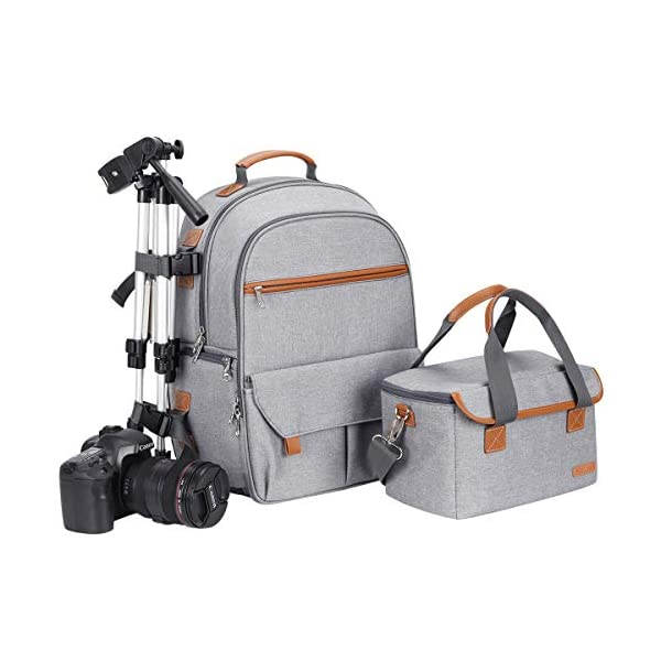 Endurax Waterproof Camera Backpack for Women and Men Fits 15.6 Laptop with Build-in DSLR Shoulder Photographer Bag Gray