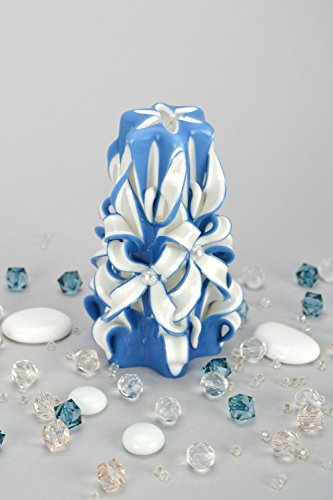 White And Blue Carved Candle by Handmade