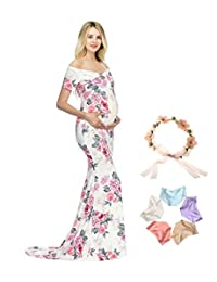Sannyway Maternity Photography Dress Off Shoulder Floral V-Neck Photoshoot Maxi Gown