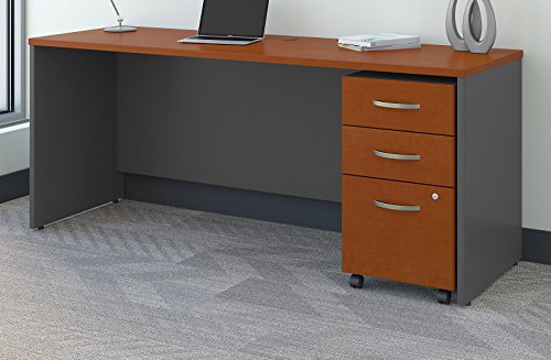 - Bush Business Furniture Series C 72W x 24D Office Desk with Mobile File Cabinet in Auburn Maple