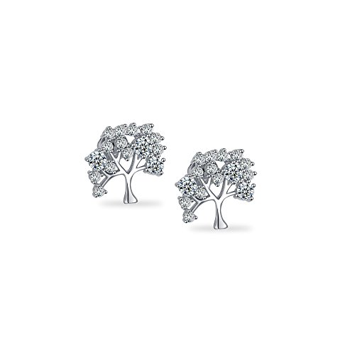 Emma Gioielli – Women Stud Earrings Silver Tree of Life with Crystals SWAROVSKI ELEMENTS – Gift Box ()