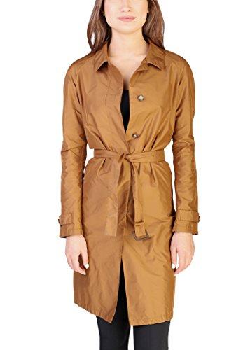Prada Women's Polyester Trench Coat Copper (Prada Brown Belt)