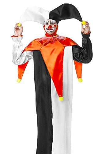 [Adult Unisex Jingles the Jester Halloween Costume Harlequin Dress Up & Role Play (One Size - Fits All, white, black,] (Unisex Halloween Costumes)