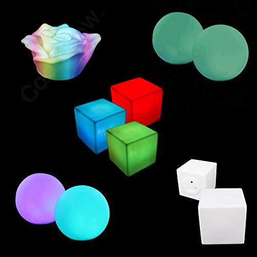 Fun Central BC983 3 Pieces LED Light Up Mood Light Party Pack, Glowing Mood Light Set - LED Morphing Cube, LED Morphing Rose, LED Waterproof Ball Mood Light with Removable -