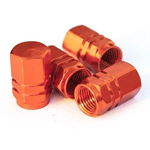 Tire Stem Valve Caps Cover Hexagon Shape (Set of 4pcs) Aluminum with Gasket Rubber Rings Universal fit for All cars and Bike (Orange)