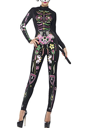 Selowin Ladies 2017 Cute Floral Sugar Skeleton Print Halloween Costume Clubwear Bodysuit,Multicolor,Large