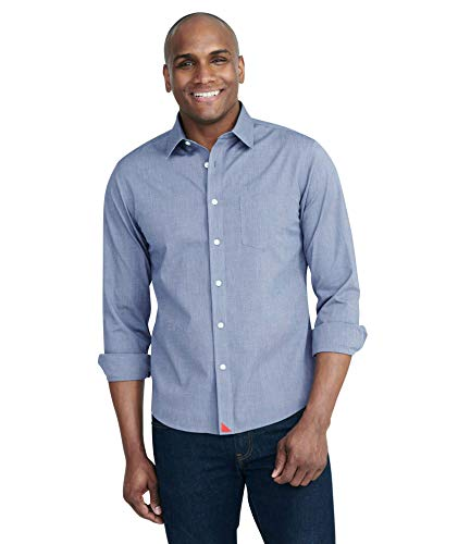 UNTUCKit Pio Cesare - Untucked Shirt for Men Long Sleeve, Wrinkle-Free, Solid Navy