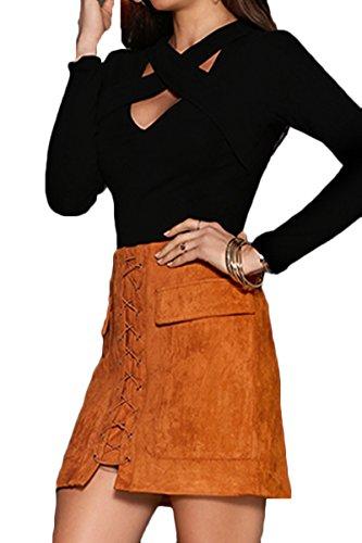 Prograce-Womens-Vintage-Lace-Up-High-Waist-Bodycon-Faux-Suede-Mini-Skirt