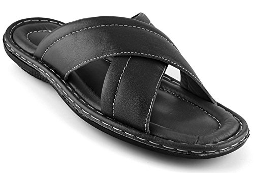 Prospero Comfort Men's Sandals Top Grain Leather Soft Cushion Footbed - X Design Black 11 by Prospero Comfort