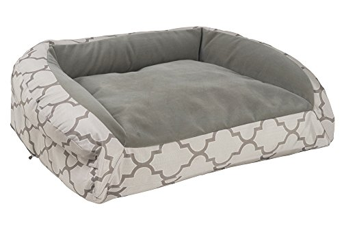 K9 Ballistics Nesting Bolstered TUFF Velvet Bed Brindle Velvet/Lattice Ripstop - Medium (27''x33''x5'') by K9 Ballistics