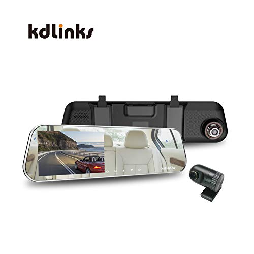 - KDLINKS R100 Ultra HD 1296P Front + 1080P Rear 280° Wide Angle Anti-Glare Rearview Mirror Dual Lens Dash Cam with IPS 5