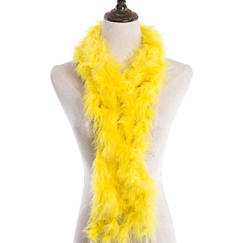 MeiHoyo 2PCS 6.6ft Colorful Party Feather Boas Over 9 Colors Feather Plush (Yellow) ()