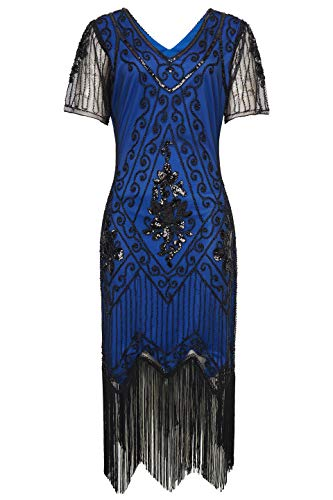 BABEYOND 1920s Art Deco Fringed Sequin Dress 20s Flapper Gatsby Costume Dress (Blue Black, X-Large) -