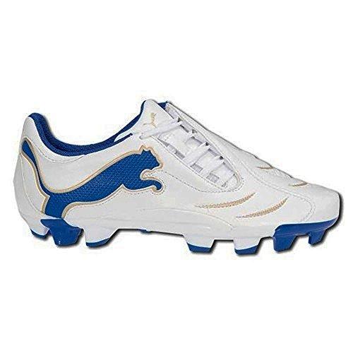 Puma Powercat 3.10FG Jr de Fútbol y Rugby botas blanco azul oro UK 6