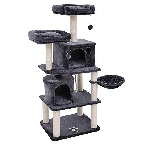 FEANDREA Stabiler Kratzbaum mit Sisal-Kratzstangen, Plüsch-Sitzmulden, einem Korb und 2 Häuschen, Kletterbaum für Katzen