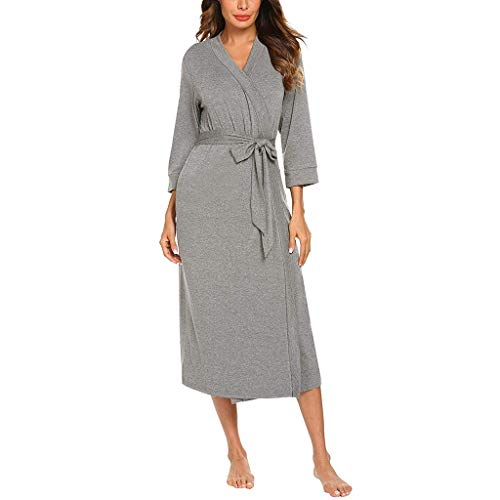 GDJGTA Women's Sexy Sleepwear 4/3 Sleeve V-Neck Lightweight with Belt Long Robe Bathrobe Sleepwear Gray ()