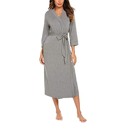 (GDJGTA Women's Sexy Sleepwear 4/3 Sleeve V-Neck Lightweight with Belt Long Robe Bathrobe Sleepwear Gray)