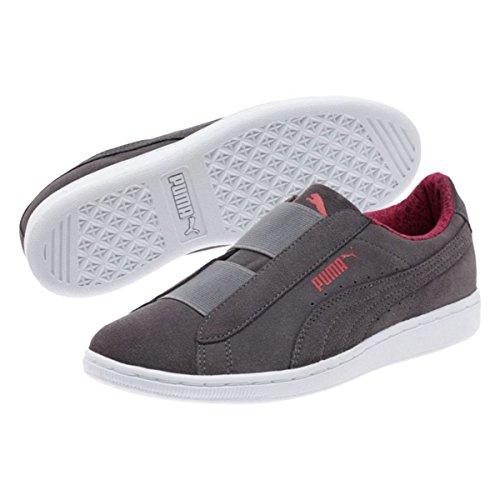 Puma Womens Puma Vikky Slip-On Fundamentals Shoes Quiet Shade-Puma White Size 6