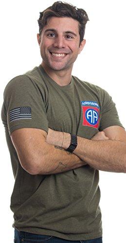 Ann Arbor T-shirt Co. 82nd Airborne Division & Sleeve Flag | U.S. Military Army Veteran Ft Bragg Shirt-(OD Green,L)