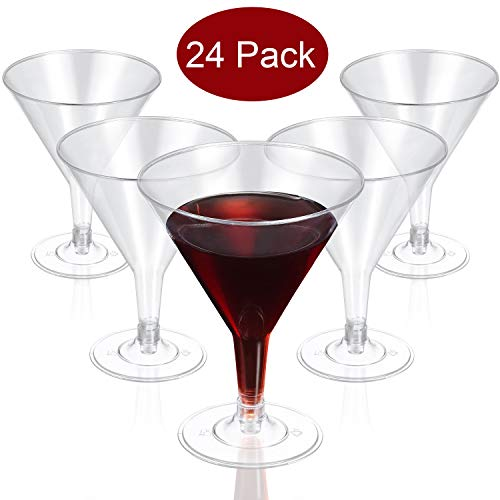 24 Pack Clear Plastic Martini Glasses Disposable Martini Glasses,6.5 OZ Disposable Plastic Cup Plastic Dessert/Cocktail Cups Great For Appetizers, Desserts, Mousse for Weddings Parties Picnic Supplies