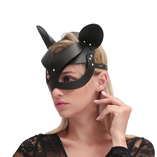 HOT-TIME-Leather-Rhinestone-Masquerade-Cat-Ears-Handwork-Cat-Women-Mask-for-Cosplay-Costume