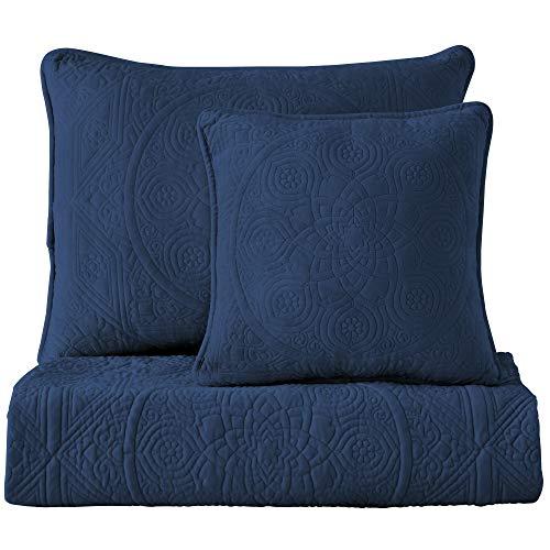 (Maison Atlas Velvet Quilt, Charlotte Premium Velvet Collection, Cotton Backing, Cotton Batting, Full/Queen, Navy)