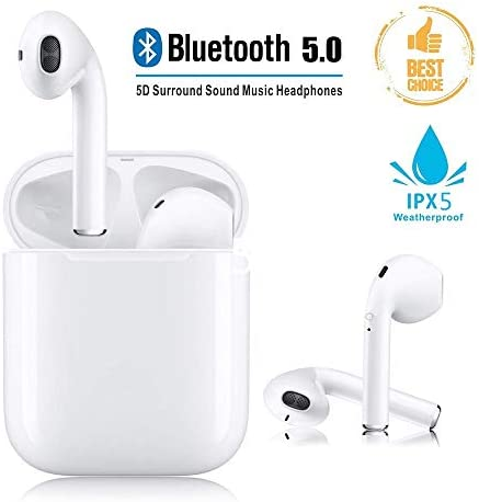 Bluetooth 5.0 Wireless Earbuds Noise Canceling Sports 3D Stereo Headphones 24Hrs Charging Case IPX5 Waterproof Pop-ups Auto Pairing Built-in Binaural Mic Headset for Android iPhone Airpod White