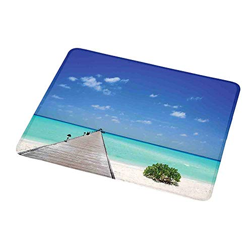 Gaming Mouse Tropical,Long Wooden Jetty Over Atoll Maldivian Sea Tropical Resort Vacation Theme,Aqua Blue White,Customized Rectangle Non-Slip Rubber Mousepad Gaming Mouse Pad 9.8
