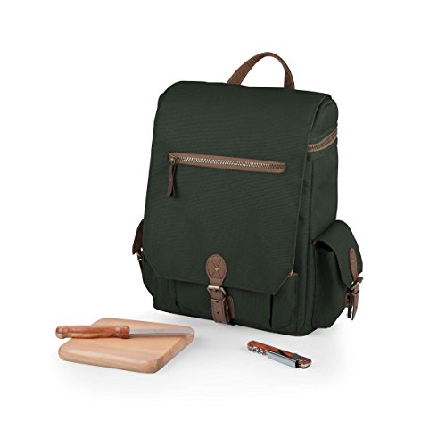 (LEGACY - a Picnic Time Brand Moreno Insulated 3-Bottle Wine Tote with Wine and Cheese Accessories, Khaki Green)