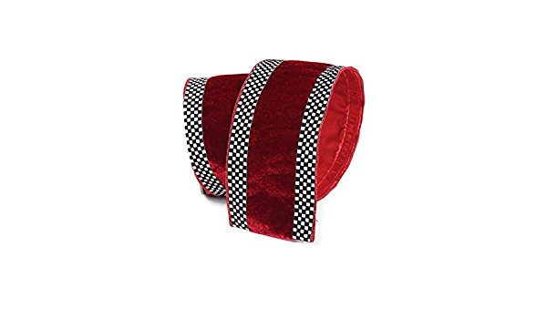 Wreath Supplies Christmas Candy Ribbon Wired Ribbon Craft Supplies DIY Farrisilk 4\u201d Premium Red White Sugar Plaid Ribbon