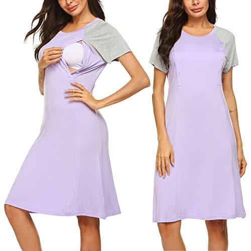 - Ekouaer Nursing Nightgown Women's Short Sleepwear Dress Maternity Hospital Gown with Button (Lilac,XX-Large)