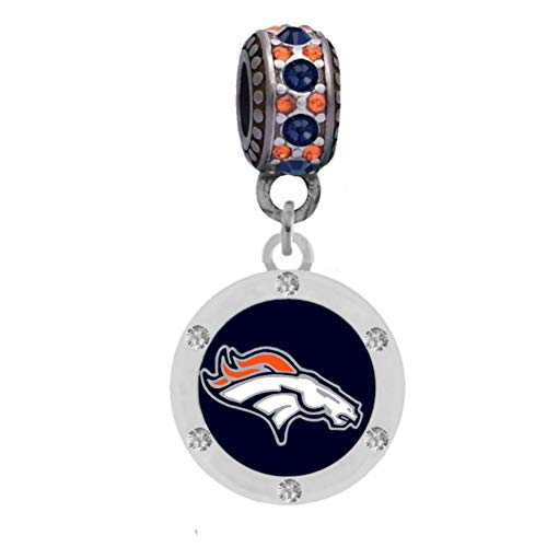 Final Touch Gifts Denver Broncos Charm with Crystals Fits European Style Large Hole Bead Bracelets - Denver Broncos Charm