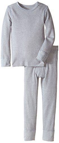 (Fruit of the Loom Boys' Little Waffle Thermal Underwear Set, Light Grey Heather, 6/7 )