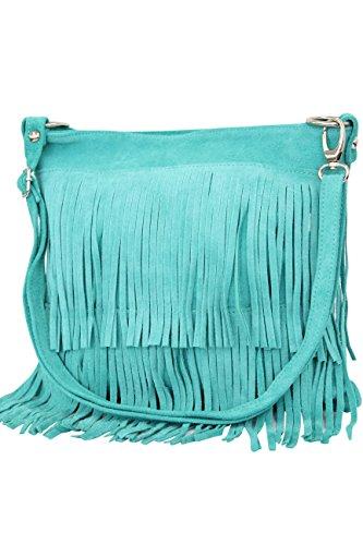AMBRA Moda bolso de las señoras gamuza con refriega WL809 (Turquesa)