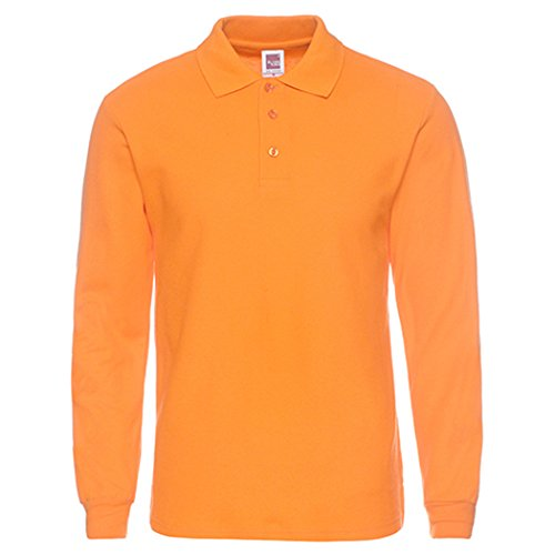 NeedBo Men's Long Sleeve Casual Solid Golf Polo Shirt,Orange,XXL