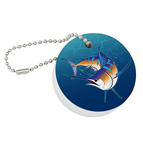 Graphics and More Blue Marlin Swimming in Ocean Round Floating Foam Fishing Boat Buoy Key Float Keychain
