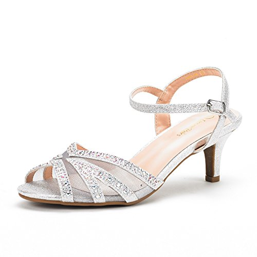 DREAM PAIRS NINA-166 Women's Summer Ankle Strap Rhinestones Open Toe Classic Low Heel Sandals Shoes New SILVER SIZE 8