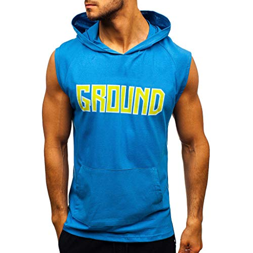 Sunmoot Sleeveless Shirt Slim Fit Tank Top Men's Letter Vest Lightweight Fitness Hoodie Sports Tops with Pocket -
