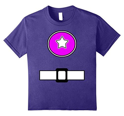 Purple Power Ranger Halloween Costume (Kids Fun Super Generic Hero Costume Shirt Pink Emblem Belt Look 12 Purple)