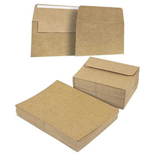 - A7 Envelopes and Cards - 100-Count A7 Invitation Envelopes and 100-Count 5 x 7 Cards, Kraft Paper A7 Cards and Envelopes Set for Weddings, Graduations, Baby Showers, Parties, 5.25 x 7.25 Inches