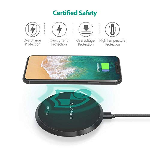 Wireless Charger RAVPower Qi Certified 10W Fast Wireless Charging Pad for Galaxy S9+ S9 Note 8, Compatible iPhone X 8 Plus 8 and All Qi-Enabled Phones (NO Adapter)