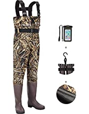 TIDEWE Chest Waders Updated with Mesh Lining, Realtree Max 5 Camo Waterproof Waders for Fishing & Hunting, Bootfoot PVC Waders with Boot Hanger for Men & Women (Size 5-14)