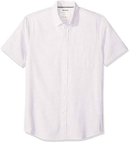 Amazon Brand - Goodthreads Men's Standard-Fit Short-Sleeve Horizontal Stripe Shirt, Burgundy Horizontal Stripe, Large
