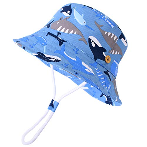 "Durio Toddler Hat Cute Summer Sun Hats for Toddler Boys Beach Baby Sun Protection Hats Gifts UPF 50+ Bucket Hat C Blue Whale 19.7""(50cm)/12-24 Months"