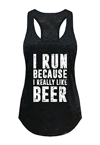 Tough Cookie's Women's I Run Because I Like Beer Burnout Tank Top (Large - LF, Black)