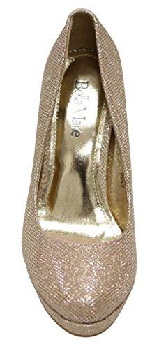 Bella Marie Tamika-1 Kvinna Klassiska Yrkes Glitter Läder Plattform Stilettklackar Pump Guld