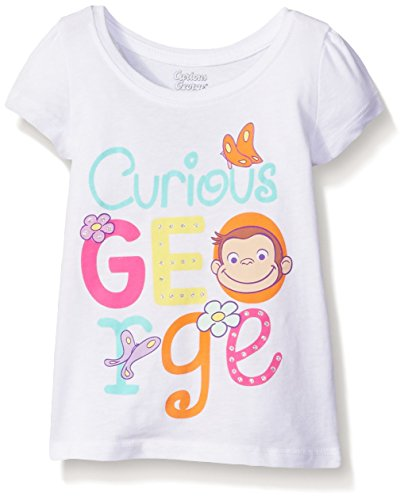 Curious George Little Girls' Toddler Short Sleeve T-Shirt, White Butterfly, 4T