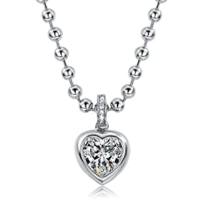 """UMODE Jewelry Clear Cubic Zirconia Plump Heart Shaped Pendant Necklace Ball Chain 18"""" (16""""+2"""" Ext.)"""
