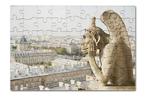 Gargoyle on Notre Dame, France Photography A-91332 (8x12 Premium Acrylic Puzzle, 63 Pieces)